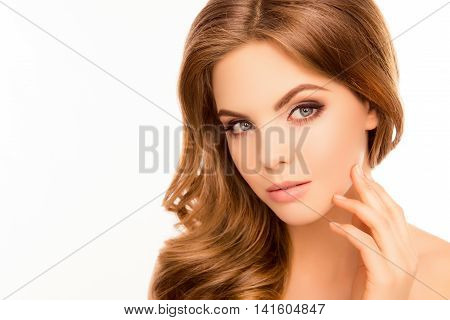Young Cute Woman Touching Face After Plastic