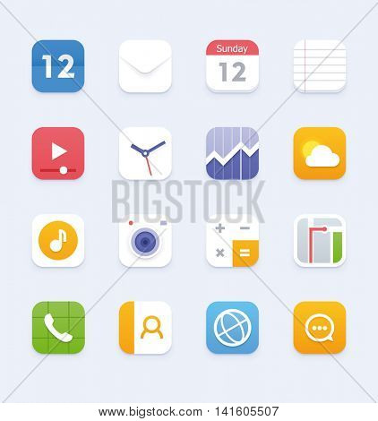 Set of the phone or tablet application icons