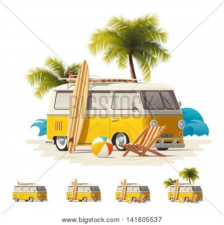 Vector vintage surfers van icon set