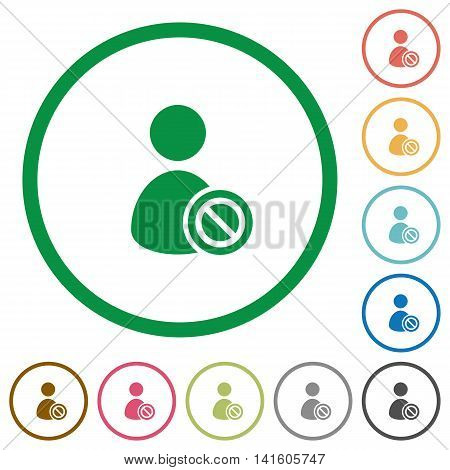 Set of Ban user color round outlined flat icons on white background