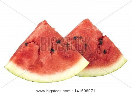 Fresh sliced watermelon pieces isolated on white background