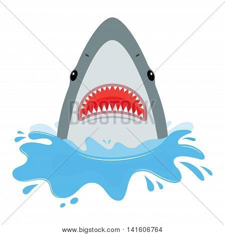 shark with open mouth. He jumps out of water isolated on white background. Flat vector illustration
