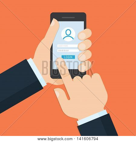 Login form on phone screen illustration concept. Hand hold phone finger touch sign in button. Vector flat illustration.