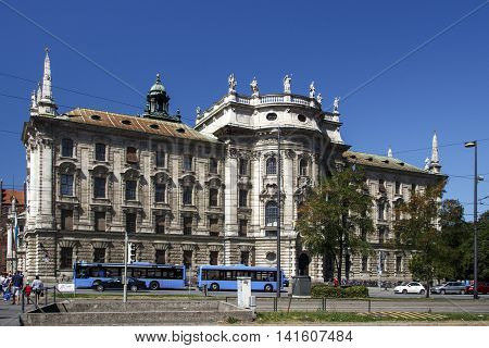 MUNICH, GERMANY - AUGUST 29, 2015: The palace of justice in Munich is a judicial and administrative building in the Bavarian capital