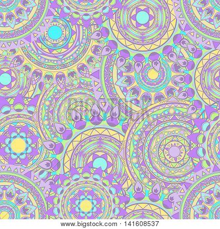 round mandala seamless vector patterns lilac colored