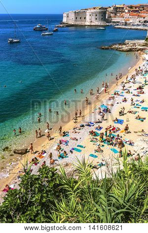 People On The Beach In Dubrovnik, Croatia