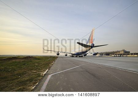 Boeing 747 Transaero Taxiing To The Runway.