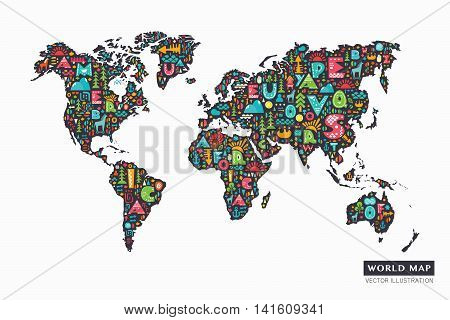 Funny cartoon world map with alphabet letters and design abstract elements. Vector illustration