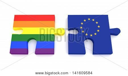 Puzzle Pieces Gay Pride Rainbow Flag And EU Flag 3d illustration