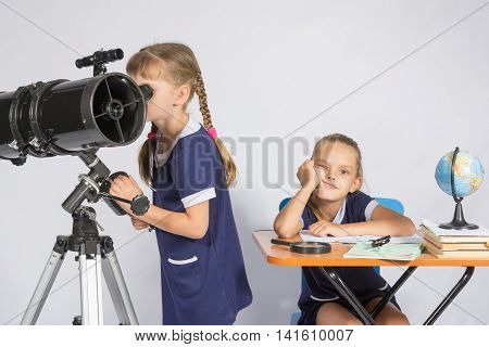 A Girl Looks Through A Telescope, The Other Girl Is Waiting Sad Results