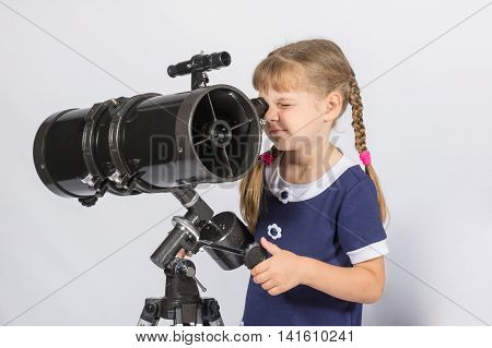 Girl Amateur Astronomer Sets Up A Telescope For Observing The Starry Sky