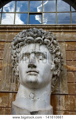 Head sculpture in the courtyard of the Vatican in Rome, Italy
