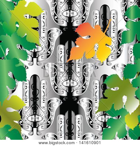Abstract vector seamless pattern background with hand Hamsa. Hand of God , eye,green and yellow autumn leaves. Magic amulet, talisman - symbol of protection from devil eye.3D decor elements with shadows and highlights