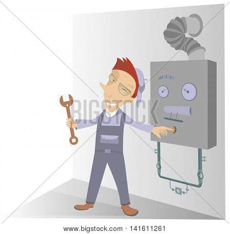 Mechanic Illustration. Comic mechanic has repaired a construction and presses the start button