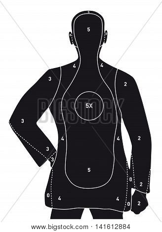 Human silhouette shooting target. Professional. Size 74 x 54 cm, ready for print. 1 color (Black).