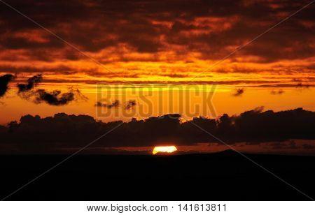 Sun Sets Behind The Horizon