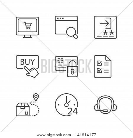 shopping online icons set thin line black color