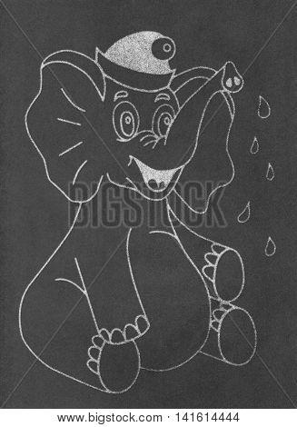 Happy elephant with drops draw on black chalkboard