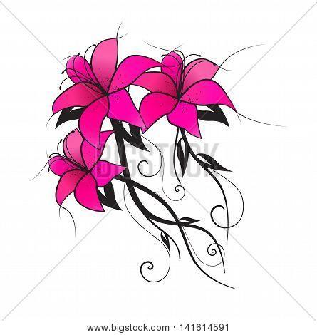Vector illustration of pink lilies, vintage decoration flowers
