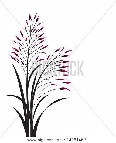 Vector illustration of colorful grass on a white background, abstract meadow element.
