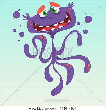 Happy cartoon octopus. Vector Halloween purple octopus character isolated