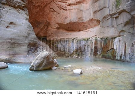 Carved Canyon Wall with Water Streaks, and a Calm Blue Pristine Pool of Water, along The Narrows hiking trail, Zion National Park