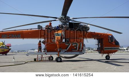 VAN NUYS - AUG 7: An Erickson Air Crane is seen parked at Van Nuys Airport and ready to fight fires in California on August 7, 2016 in Van Nuys, CA