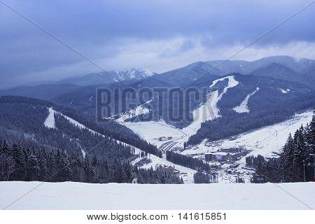 View fron the top of the mountain in Bukovel - ski resort in Ukraine. Near Ivano-Frankivsk.