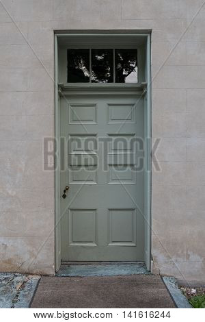 Sage Green Door With Transom windows above