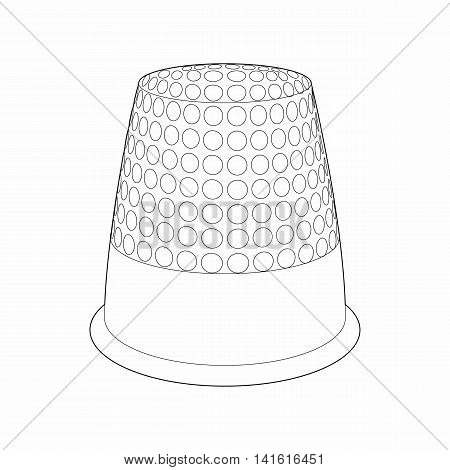 Thimble icon in outline style isolated on white background. Accessory for sewing symbol