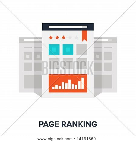 Vector illustration of page ranking flat design concept.