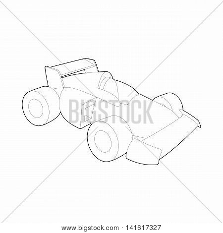 Race car icon in outline style isolated on white background. Racing symbol