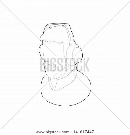 Male commentator in headphones icon in outline style isolated on white background. Sport symbol