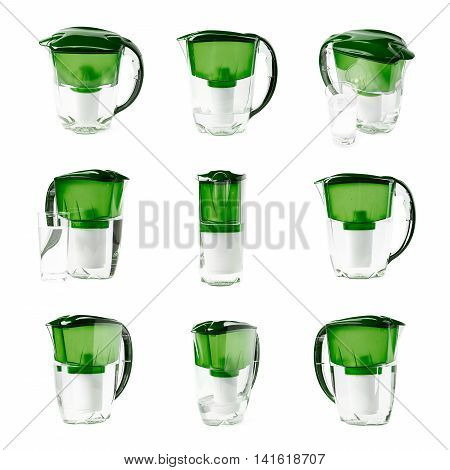 Green water filter pitcher isolated over the white background, set of nine different foreshortenings