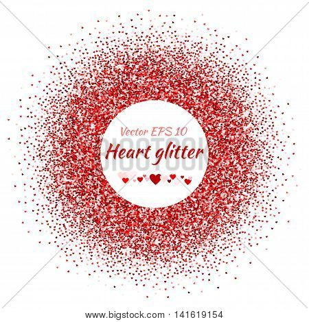 Vector card with shimmer. Greeting card with hearts. Shiny. Red spangle. Shimmer. Bright sparkles.
