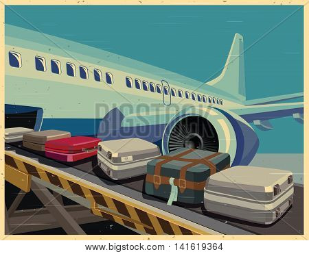 Stylized vector illustration on the theme of civil aviation. Modern jet airplane ready to take on baggage and passengers.