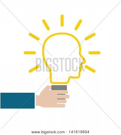 hand with head lightbulb concept