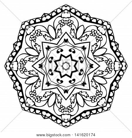 Vector simple mandala with floral elements isolated on white background. Oriental round ornament. Template for embroidery.
