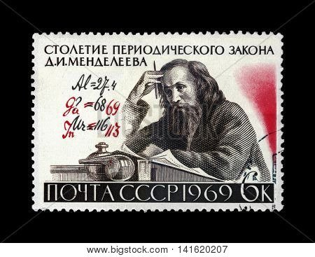 USSR - CIRCA 1969: cancelled stamp printed in USSR shows famous scientist Dmitri Mendeleev (1834-1907) with author's Formula corrections Century of the Periodic Law (classification of elements) formulated by D.I. Mendeleev, circa 1969. vintage post stamp