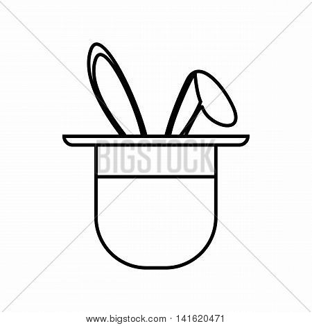 Magician hat with rabbit icon in outline style isolated on white background. Tricks symbol