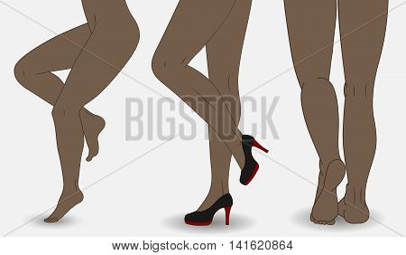 Set of vector illustrations of shapely female. Beautiful legs in red shoes on high heels.