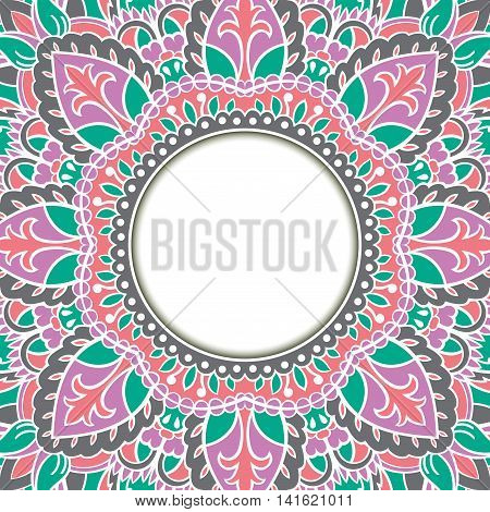 Oriental ornamental frame. Background with filigree ornaments and place for text. Vector card. Book cover vinyl cover CD DVD cover.