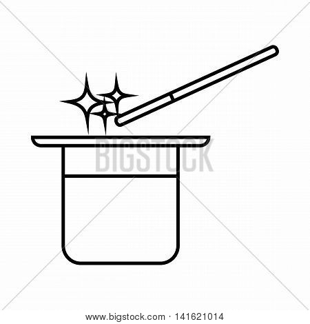 Magician hat and magic wand icon in outline style isolated on white background. Tricks symbol