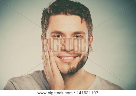 Happy Man With Half Shaved Face Beard Hair.