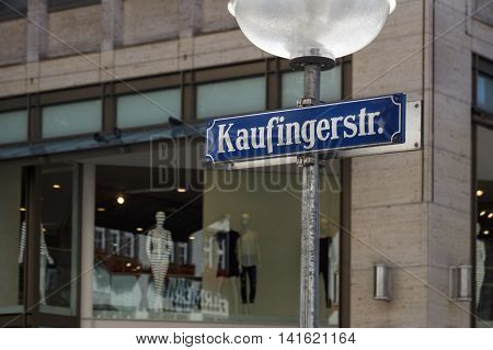 MUNICH, GERMANY - AUGUST 29, 2015: Street sign of the shopping mile Kaufinger street in the inner city of Munich