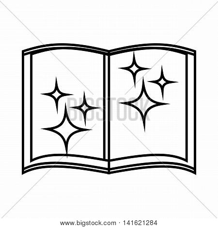 Book of wizard icon in outline style isolated on white background. Tricks symbol