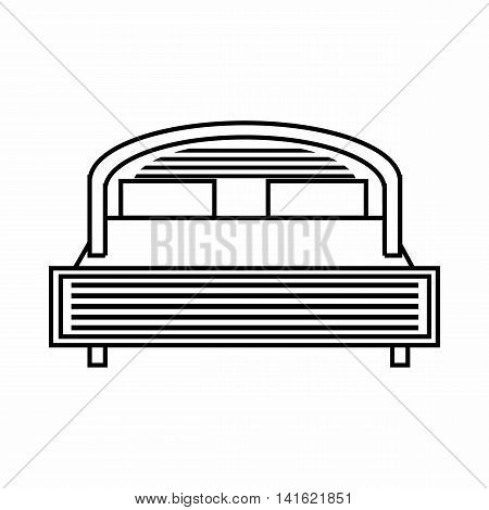 Double bed icon in outline style isolated on white background. Bedroom symbol