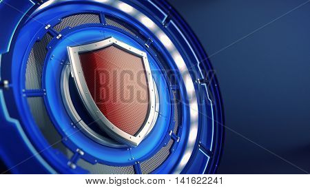 Protection and security concept: shield on futuristic technology background. 3d illustration