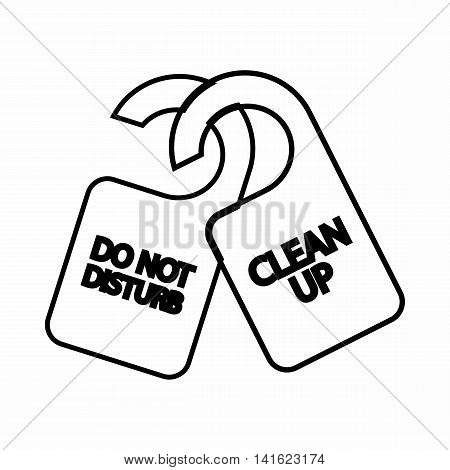 Tag do not disturb and clean up icon in outline style isolated on white background. Label symbol