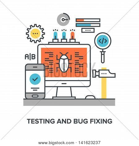 Vector illustration of testing and bug fixing flat line design concept.